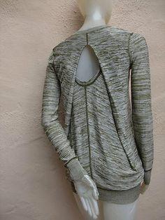Alexander Wang Avant-Garde Gorgeous Varigated Zip Front Open Back Sweater (back)