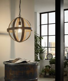 Eglo Lighting / Westbury / Vintage Rust Coloured Thick Metal Round Cage 1 Lamp Pendant