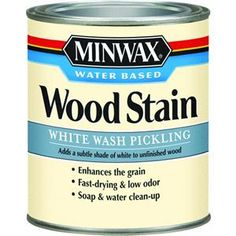 Minwax Pre-tinted White Wash Water-based Interior Stain (Actual Net Contents: oz) at Lowe's. Minwax water based wood stain is an easy way to add beautiful color to unfinished wood surfaces. Now available in 40 colors and 4 designer style color Wood Stain Colors Minwax, Whitewash Wood, Paint Stain, Stain Wood, Wood Wood, Whitewash Furniture, Chalk Paint, Furniture Refinishing, Salvaged Wood