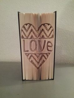 Cut and fold measure and mark Chevron heart with Love book folding pattern by BookFoldingForever on Etsy