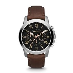 Grant Chronograph Leather Watch - Brown FS4813 | FOSSIL® UK