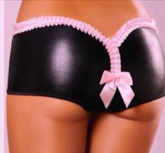 Black Wet-look Knickers with soft pink frill edge and rear bow.