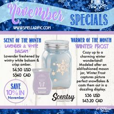 November Specials, available November 1st. Place your order then at www.smellarific.com. Flyer by Angela O'Hare.