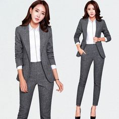 Online Shop business attire Office OL Uniform Designs Women elegant Dark Business Gray pant Suits Work Wear Jacket with Trousers 2 piece Set Business Professional Outfits, Business Casual Attire, Business Outfits, Business Fashion, Suits And Sneakers, Look Fashion, Fashion Outfits, Woman Outfits, Fashion Goth