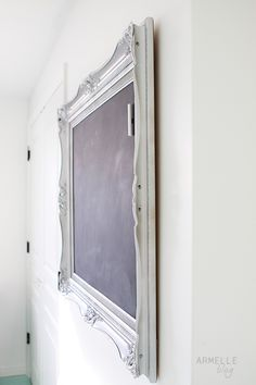 How to make a magnetic chalkboard with a frame, sheet metal, and chalkboard paint. This is what I've been looking for!!!!!