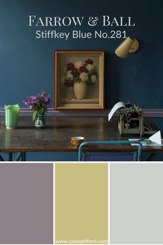 Farrow and Ball colours Stiffkey Blue, Brassica, Churlish Green and Skylight. See more in my video here on the blog!