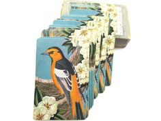 Vintage Deck of Cards Birds Yellow  Flowers  Woodland by ElmPlace, $14.00