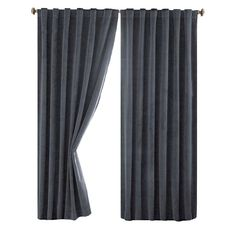 Absolute Zero Bradley Total Blackout Window Curtain Panel in Stone Blue - 50 in. W x 63 in. - The Home Depot Cute Curtains, No Sew Curtains, Elegant Curtains, Shabby Chic Curtains, Drop Cloth Curtains, Double Curtains, Cheap Curtains, Rustic Curtains, Floral Curtains