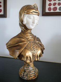 Bronze and Alabaster bust by G van Vaerenberg