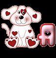Oh my Alfabetos!: Alfabeto animado de perrito con corazones, guiñando el ojo.