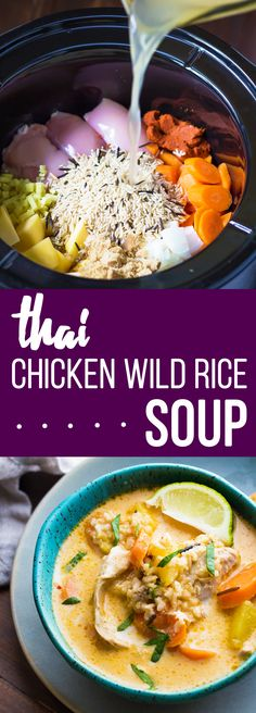 Cooker Thai Chicken & Wild Rice Soup This Thai Slow Cooker Chicken and Wild Rice Soup is an easy dump and go crock pot recipe!This Thai Slow Cooker Chicken and Wild Rice Soup is an easy dump and go crock pot recipe! Crock Pot Recipes, Slow Cooker Recipes, Chicken Recipes, Cooking Recipes, Recipe Chicken, Crockpot Meals, Wild Rice Recipes, Chicken Meals, Cooking Games