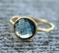 Gold Blue Topaz Ring, $57