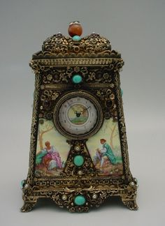 Glorious Antique Austrian Silver Jeweled Clock Music Box  World Rarities