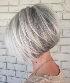 100 Mind-Blowing Short Hairstyles for Fine Hair Silver Balayage Bob wi. - 100 Mind-Blowing Short Hairstyles for Fine Hair Silver Balayage Bob with Swoopy Layers - Layered Haircuts For Women, Inverted Bob Hairstyles, Bob Hairstyles For Fine Hair, Short Bob Haircuts, Short Hairstyles For Women, Cool Hairstyles, Medium Hairstyles, Hairstyles Haircuts, Popular Hairstyles