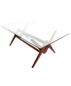Compass Glass Table - Natural Teak