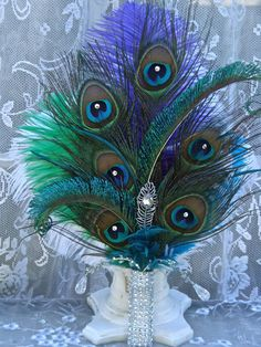 For AMY  Ostrich and Peacock Feather Swarovski by Ivyndell on Etsy