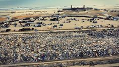 """Rockaway Beach, NY Hurricane Sandy 2012 Riis park/ """"land fill"""" just some of the garbage being separated ......and you know how wide this is when you drive past!"""