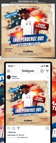 """Independence Day Flyer Template is very modern psd flyer that will be the perfect invitation for your Night Club event or party and for Independence day! All elements are in individual layers and the text is fully editable! 2 PSD files – 4""""x4"""" with 0.25"""" bleed + 1080×1080 Rgb Social media ready"""