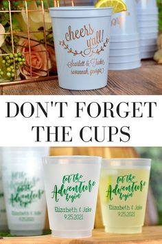 Don't forget personalized wedding cups for guests to use during your wedding reception. Custom printed cups are fun conversation starters and make reusable wedding souvenirs. Homemade Wedding Favors, Winter Wedding Favors, Creative Wedding Favors, Inexpensive Wedding Favors, Elegant Wedding Favors, Edible Wedding Favors, Wedding Cups, Wedding Favors For Guests, Personalized Wedding Favors