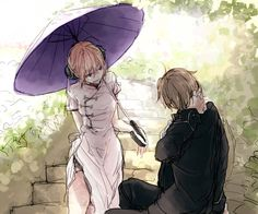 Kagura & Okita Sougo | Gintama | Credits to the owner of picture, I don't own the picture. // Not sure if I am shipping those two or not... (・_・。)ゞ