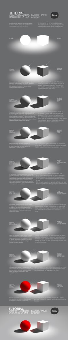 tutorial basico de luz by ~hikaruga on deviantART. Excellent resource on reflected light and cast shadows! Basic Drawing, Drawing Lessons, Drawing Techniques, Drawing Tips, Art Lessons, Digital Painting Tutorials, Digital Art Tutorial, Painting Tips, Art Tutorials