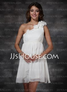Cheap Holiday Dresses - $93.99 - Empire One-Shoulder Short/Mini Chiffon  Charmeuse Holiday Dresses With Ruffle (020003254) http://jjshouse.com/Empire-One-shoulder-Short-Mini-Chiffon--Charmeuse-Holiday-Dresses-With-Ruffle-020003254-g3254