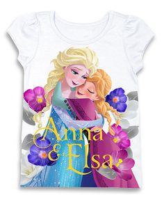 White Frozen 'Anna & Elsa' Puff-Sleeve Tee - Girls