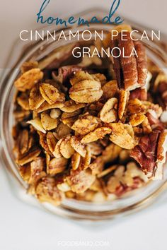 Homemade cinnamon pecan granola is a delicious and easy granola recipe to make. It's tasty served in parfaits, with yogurt, with milk, or with fruit. Cinnamon Pecans, Honey And Cinnamon, How To Make Granola, Buy Store, Homemade Granola Bars, Banjo, Breakfast Recipes, Easy Meals, Recipes
