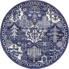 Modern Country 3 feet 2 inches Round 3 2 Round La Jolla Blue Contemporary Area Rug -- Read more  at the image link.