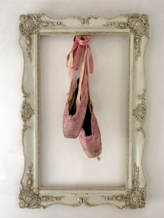 I love this for ballet shoes. First pair of pointe (or ballet) shoes, framed. For, my Little Miss C, my ballerina's room for one day. Dance Bedroom, Ballerina Bedroom, Dance Rooms, Girls Bedroom, Ballet Nursery, Bedroom Ideas, Bedrooms, Tiny Dancer, Dance Studio