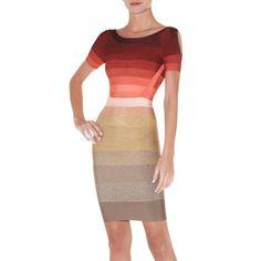 Herve Leger Short Sleeve Ombre-Stripe Bandage Dress
