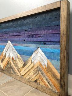 Mountain Wood Wall Art/Decor - x Wood Wall Art Decor, Reclaimed Wood Wall Art, Wooden Wall Art, Scrap Wood Art, Western Wall Decor, Wood Wall Design, Wood Artwork, Wall Wood, Diy Pallet Wall