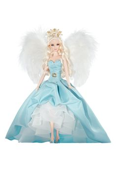 Couture Angel™ Barbie® Doll | Barbie Collector :: Couture Angel™ Barbie® doll shows off goddess style in a strapless, celestial blue gown, worn with a ruffled white underskirt. The bodice features intricately stitched detailing. Faux pearl stud earrings, golden belt buckle, and whimsical peep toe shoes are the perfect accessories. Fluffy feathered wings are the final angelic touch. Divine design delivers a devilishly delightful doll! Release Date: 6/17/2010
