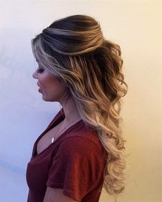 Completely i love with this curly bouffant style hair by goldplaited half up half down hairstyle prom hairstyle prom hair promhair ideasfashionbeauty fashion ideas Best Wedding Hairstyles, Formal Hairstyles, Braided Hairstyles, Hairstyle Wedding, Hairstyle Ideas, Pretty Hairstyles, Prom Hairstyles For Long Hair Half Up, Curly Hair For Prom, Half Up Half Down Hairstyles