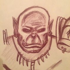 #orc #face #portrait #drawing #illustration #warcraft #wow #game #gaming #games #horde #blizz #blizzard #grommash #angry #red #color #traditional #sketch #sketchbook Horde, Red Color, Gaming, Sketch, Traditional, Portrait, Drawings, Face, Illustration
