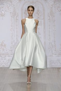 MoniqueLhullier.com ZELDA SILK WHITE SILK MIKADO SLEEVELESS TEA LENGTH DRESS