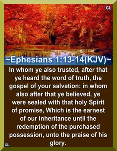 Ephesians KJV In whom ye also trusted, after that ye heard the word of truth, the gospel of your salvation: in whom also after that ye believed, ye were sealed with that holy Spirit of promise, Bible Verses Kjv, Powerful Scriptures, Favorite Bible Verses, Scripture Quotes, Father Son Holy Spirit, Ephesians 1, Grow In Grace, King James Bible, God Prayer