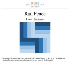 Looking for your next project? You're going to love Rail Fence Quilt Block Pattern by designer Rachael G. - via @Craftsy
