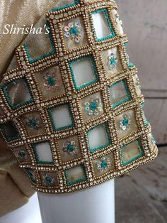 Different types of blouse sleeves - Simple Craft Ideas Cutwork Blouse Designs, Pattu Saree Blouse Designs, Simple Blouse Designs, Stylish Blouse Design, Bridal Blouse Designs, Bead Embroidery Tutorial, Embroidery Designs, Mirror Work Blouse Design, Maggam Work Designs