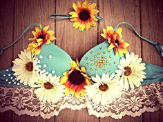 Bohemian Daisy Sunflower Rave Bra by TheLoveShackk on Etsy