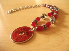 Crimson Medallion Necklace by InspiredByKarma on Etsy, $20.00