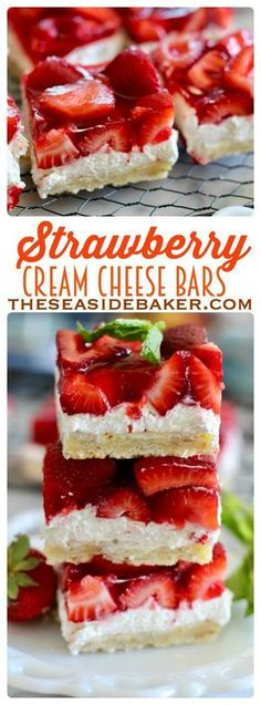 Low Unwanted Fat Cooking For Weightloss Dessert Recipe - Strawberry Cream Cheese Bars Buttery Shortbread Crust, Creamy Cheesecake Filling, And Fresh Glazed Strawberry Bars - So Delicious See This And Other Delicious Recipes Mini Desserts, Easy Desserts, Delicious Desserts, Dessert Recipes, Yummy Food, Desserts With Strawberries Easy, Cream Cheese Strawberries, Strawberry Cream Cheese Dessert, Desserts With Cream Cheese