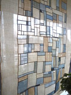 natural dyeing Bojagi, patchwork window cover in hand sewing.