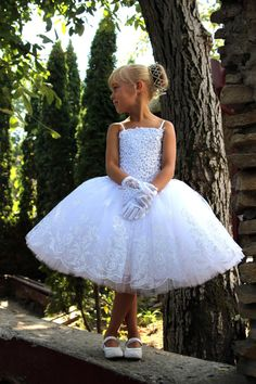 White Flower Girls Dress anniversaire mariage par Butterflydressua