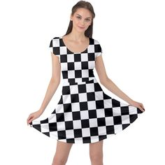 Black and white chessboard pattern, classic, tiled, chess like theme Cap Sleeve Dress Chess, Fit And Flare, Creative Design, Cap Sleeves, Black And White, Classic, Womens Fashion, Girls, Fabric