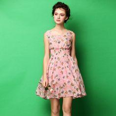 Embossed Broadside Elastic Waist Pink Floral Bubble Dress. Sizes S, M L. #fashion #dress #summer #pink #floral #ladies