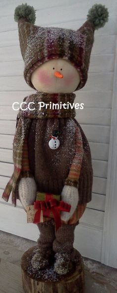 A Gift for Thee Primitive Snowman  Handmade by CCCPrimitives