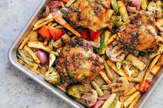Sheet Pan Honey Balsamic Chicken Thighs with Veggies is the perfect way to get dinner on the table fast! Everything comes together in one sheet pan and is baked