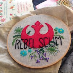 """Rebel Scum"" Star Wars embroidery: appliqued wool-blend felt and crewel wool."