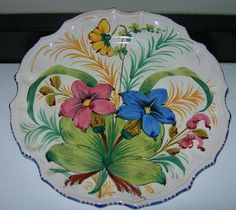 Italian Floral Plate Exceptional Handpainted Faience 8 1/2 inch $14 - ebay